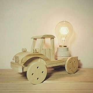 🚚 手作松木拖曳車造型燈 (含愛迪生燈泡)