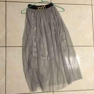 灰色飄逸長紗裙