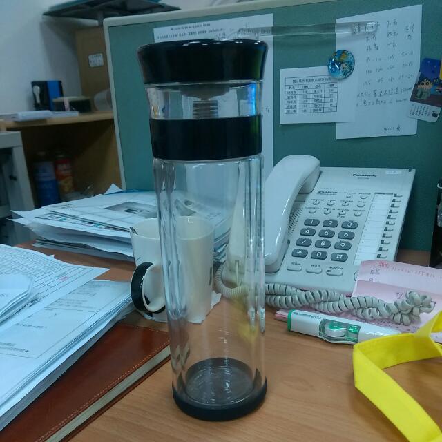 御工匠400ml茶水分離雙層玻璃隨行杯