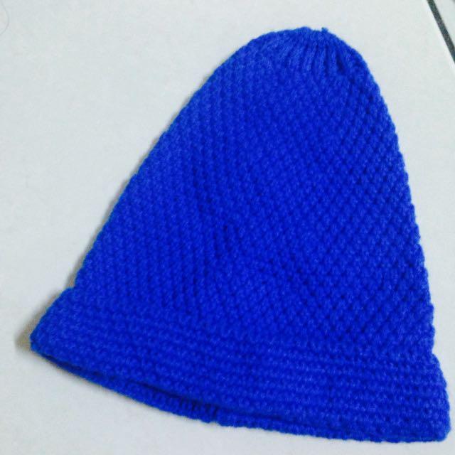 寶藍針織毛帽