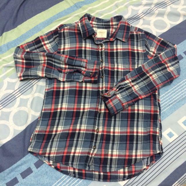 🎡長袖格子襯衫(紅藍)