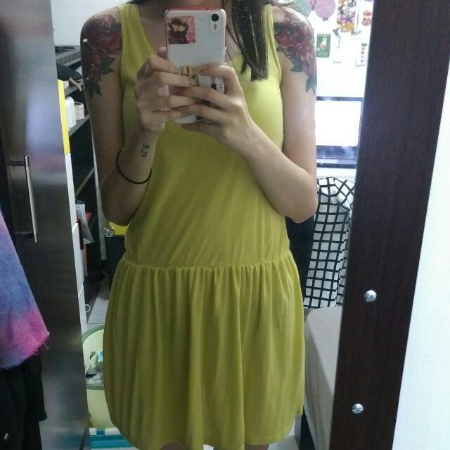芥末黃小洋裝