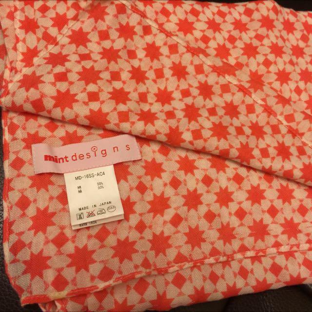 日牌 mint designs 橘色星星絲巾