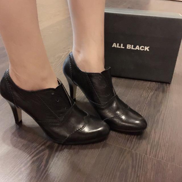 All Black 高跟牛津鞋-40號