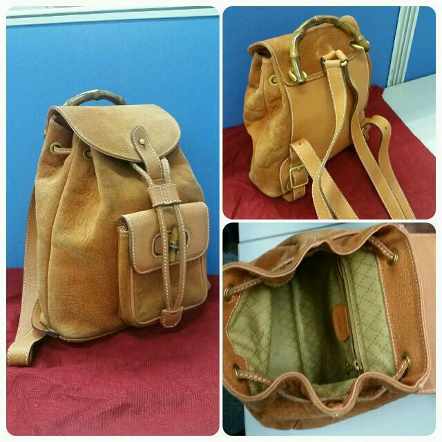 e11cf1e9d98 Authentic Vintage Gucci Orange Suede Leather backpack from The ...