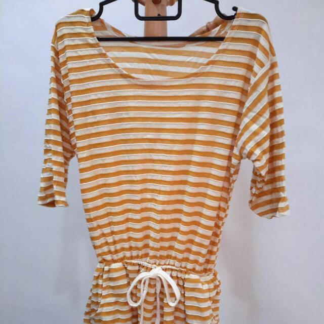Brand New Yellow & White Dress