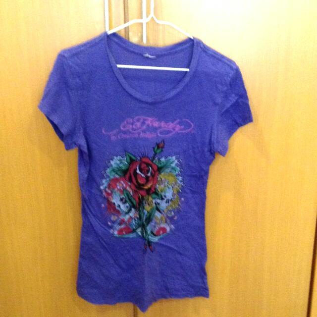 Edhardy紫色tshirt(M)