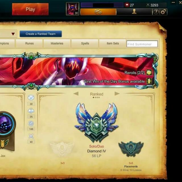 League Of Legends S5 Diamond 4 Account With Championship