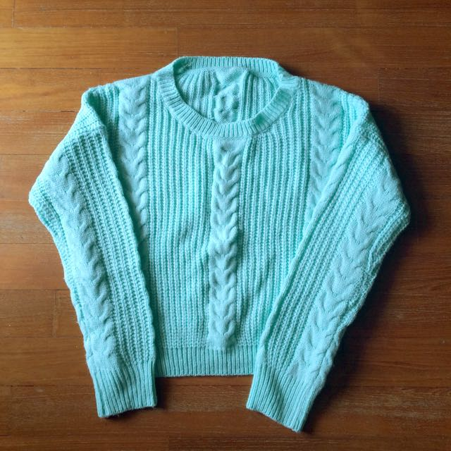 Mint Cropped Sweater