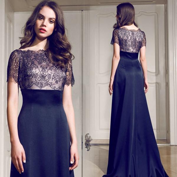 Pre Order black nude champagne lace crochet short sleeve long dress ...