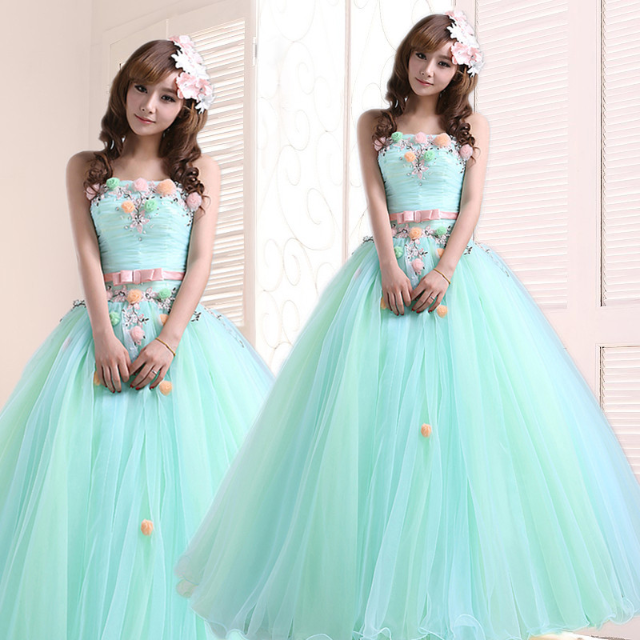 Pre Order tube wedding dress Tiffany mint green floral flower ...