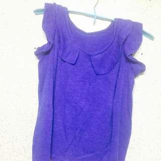 針織修身挖洞花邊造型 寶藍色上衣