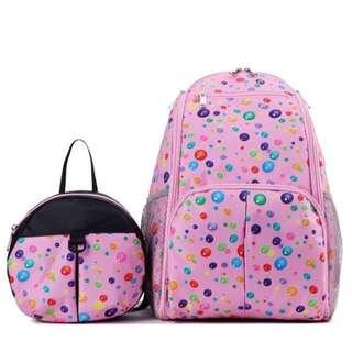 親子背包組【Allen小舖】時尚多功能媽咪防震保溫雙肩背包+寶寶防走失背包親子套裝組