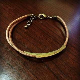 真皮拼銅手環