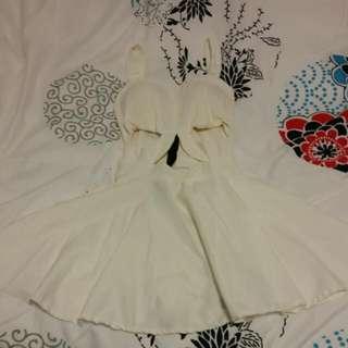 White Cut-out Skater Dress