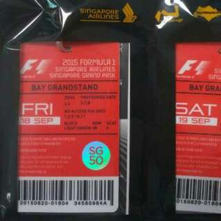 F1 Ticket Bay Grandstand Friday 18 Sep
