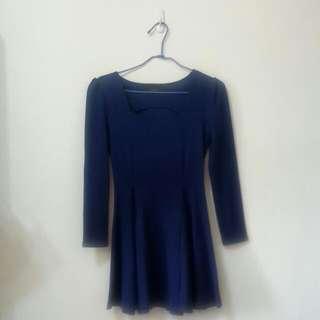 韓國製寶藍色壓紋彈性布料小洋裝