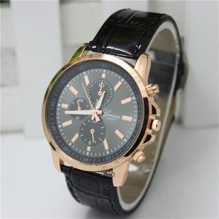 🚚 Carren Geneva Plain Single Watch Black