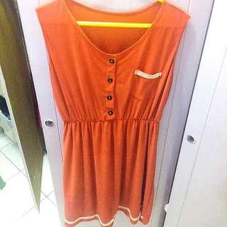 Orange Stretchable Dress