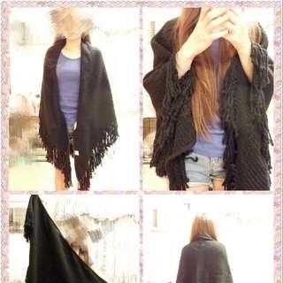 黑色針織大三角披巾