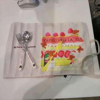 小熊學校~幸福餐具~匙叉不鏽鋼收納組
