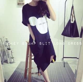 Mickey Stamp Slit Long Dress