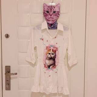 浪漫貓咪雪紡縮腰洋裝🐈