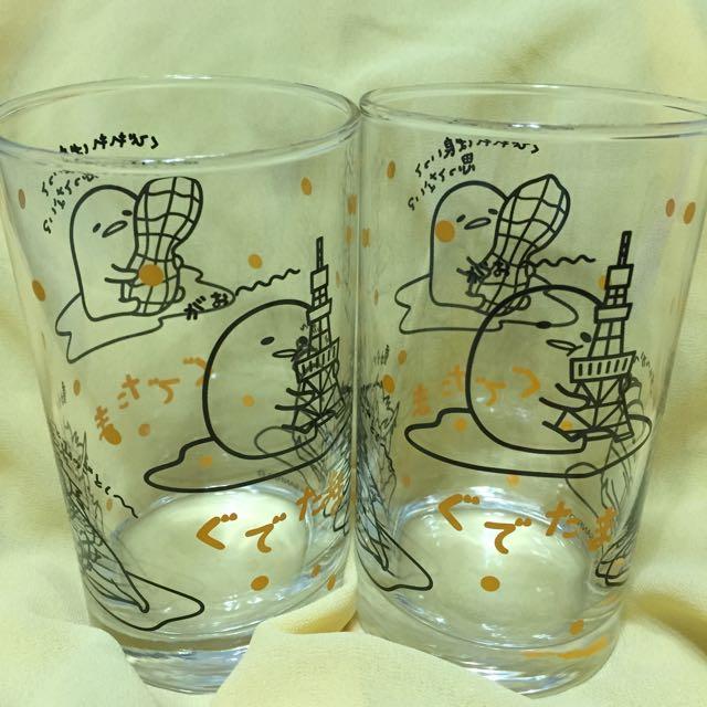 蛋黃哥玻璃水杯對杯(日本正品)