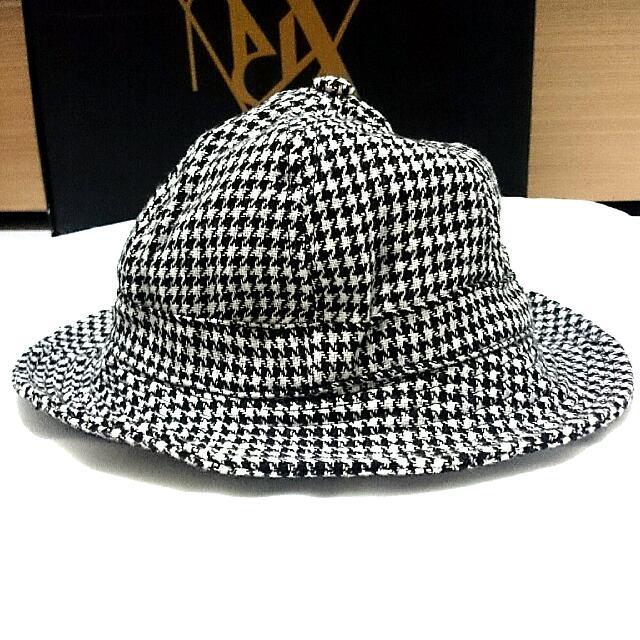 歐美韓系黑白千鳥格圓頂漁夫帽