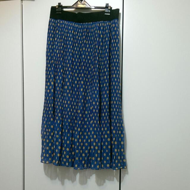 [含運🎉二手]藍底黃點復古百摺裙