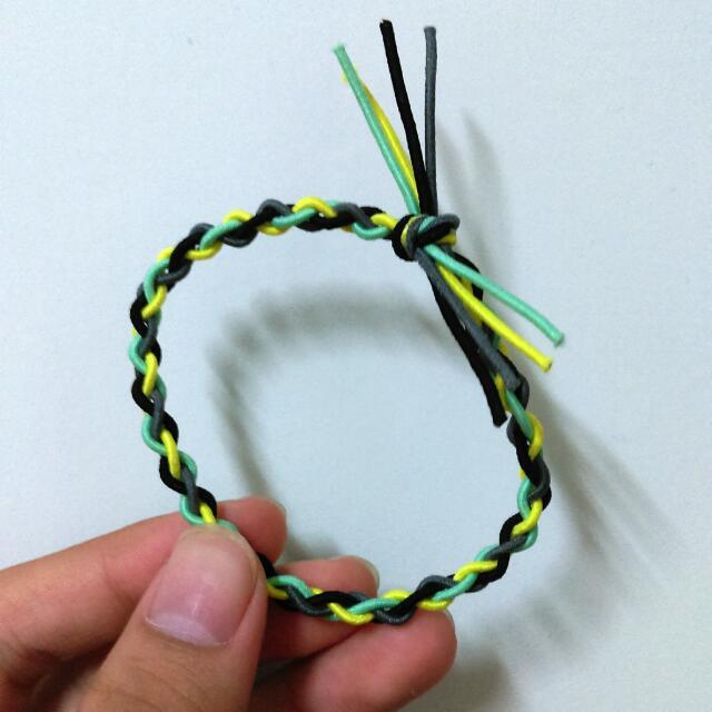買三送一/編織/髮圈/綁頭髮/綠灰黃黑