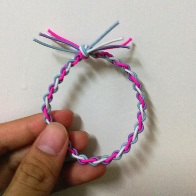 買三送一/編織/髮圈/綁頭髮/白桃紫藍