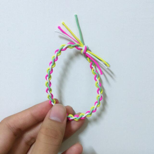 買三送一/編織/髮圈/綁頭髮/白綠桃黃