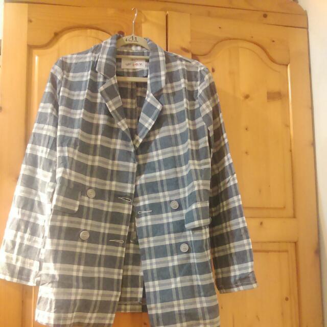 棉麻格紋西裝外套