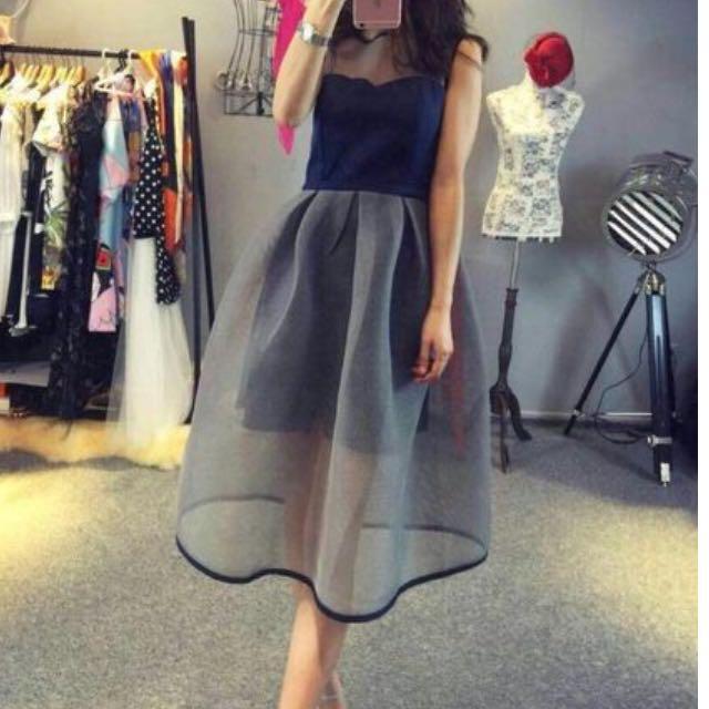 韓版性感顯瘦網紗拼接收腰蓬蓬連身裙 洋裝