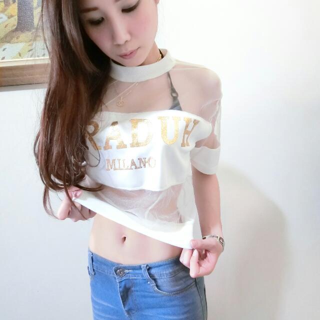 韓 紗網性感短袖T