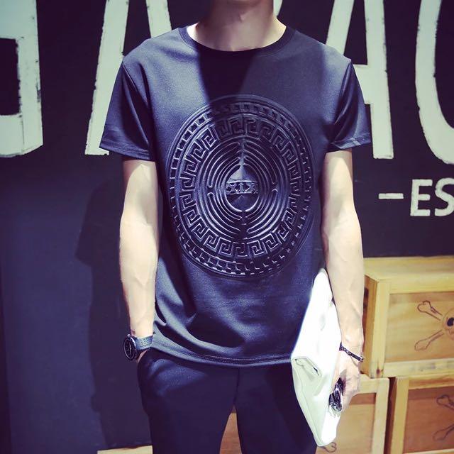 夏季 太空棉T恤 韓版潮男寬松圓領短袖衣服潮