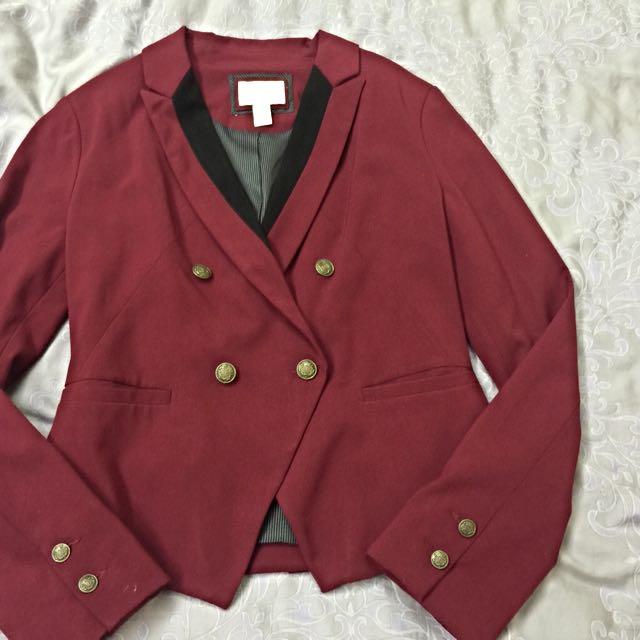 香港Forever21購入  暗紅腰身造型西裝外套😚