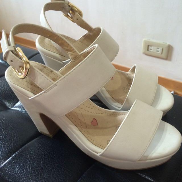 Grace Gift_高粗跟涼鞋(白)