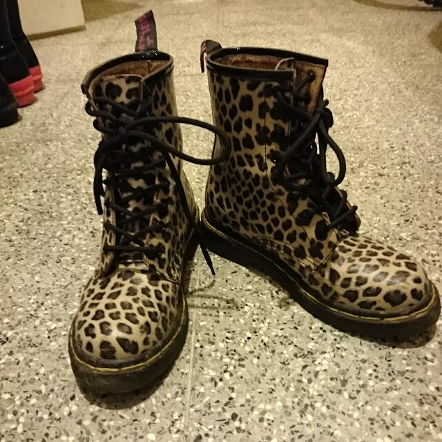 Grace Gift 豹紋馬汀短靴 粉膚色 36 9成新