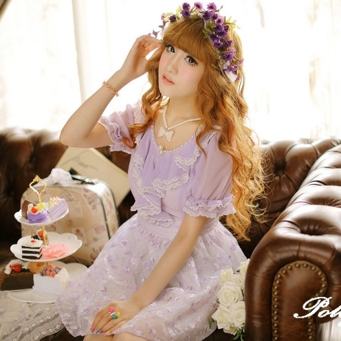 *Polly蕾絲公主夢幻精品*唯美原創品牌 紫蝶飛舞夢幻多層次珍珠領雪紡洋裝(現貨S)