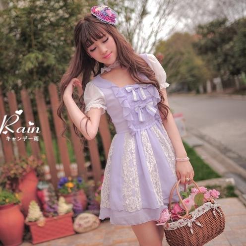 *Polly蕾絲公主夢幻精品*原創品牌獨家設計 盛夏日系童話夢幻公主透膚蕾絲雪紡連身裙(現貨S)