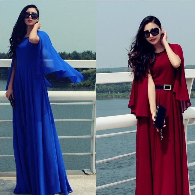 pre order red wine or royal navy blue cape top maxi dress sexy