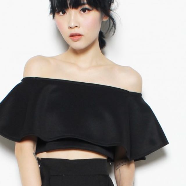 YHF Fark Off Crop Top In BLACK
