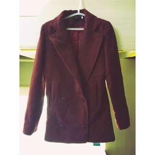 (降價!!)酒紅完美長度雙排扣西外大衣
