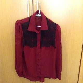 東京著衣酒紅透膚襯衫