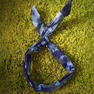 藍色迷彩鐵絲髮帶