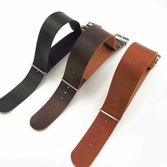 20mm PU Leather NATO Watch Strap