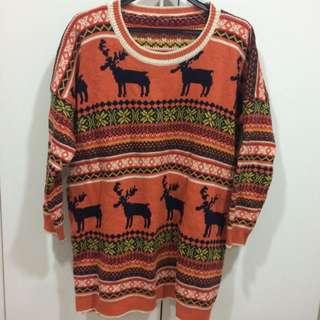 可愛麋鹿圖騰長版毛衣