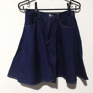 Dark Denim Skater Skirt With Zip And Button
